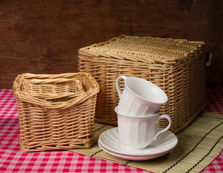 cosiness: still life with baskets and cups