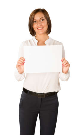 advertize: young woman with empty paper isolated in white background