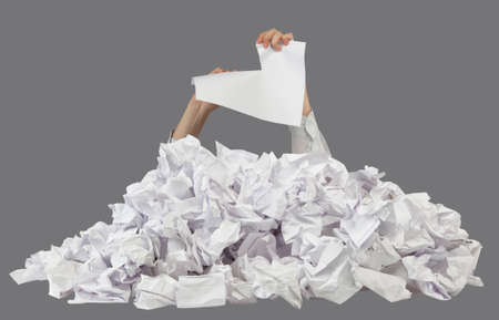 chafe: Hands with lacerated paper reaches out from crumpled papers