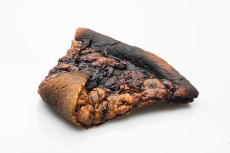 burnt slice of pizza on white background