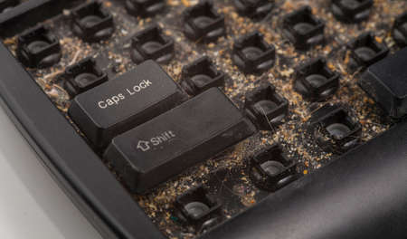 defilement: dirty keyboard Stock Photo