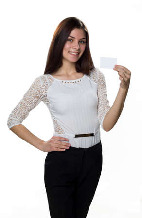 specifies: young smiling girl in business clothes isolated on white background