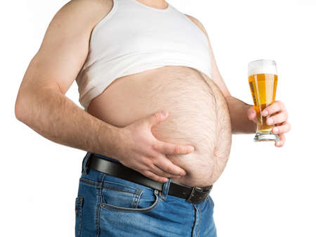 closeup fat belly with beer isolated on white background