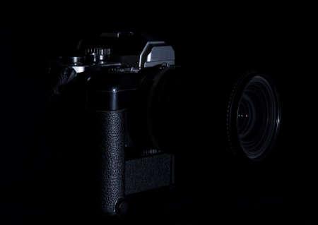vintage mechanical camera on black background Stok Fotoğraf