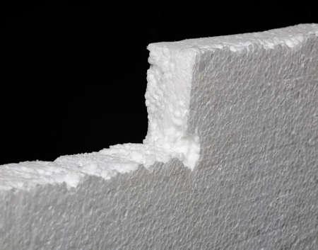 Close up of expanded polystyrene on black background