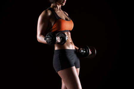young fitness girls with dumbbells Stok Fotoğraf