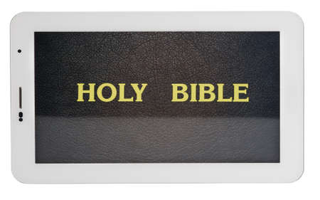preaching: holy bible in tablet isolated on white background