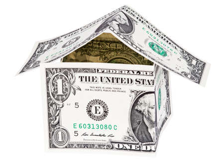 the house is made of american dollar isolated on white background Stok Fotoğraf