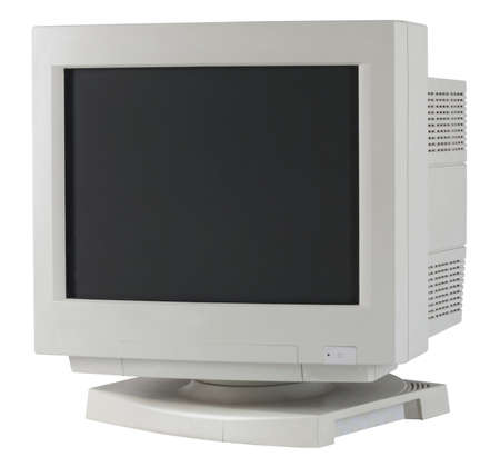 a vintage computer monitor isolated on white background