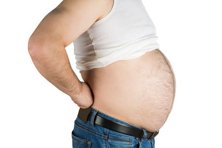 unsightly: big fat belly on white background