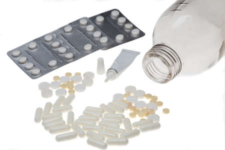 stack of medication on white background
