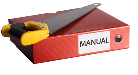 manual instructions with saw on white background