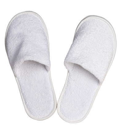 white terry slippers isolated on white background