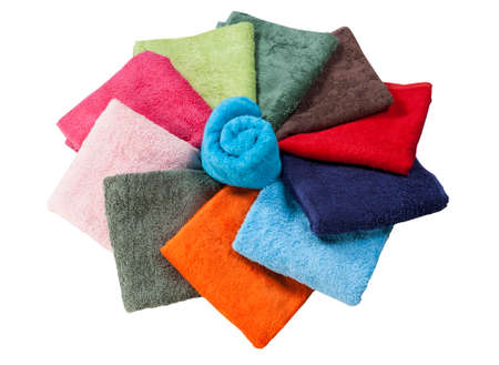 collection of towels in the shape of a flower isolated on white background