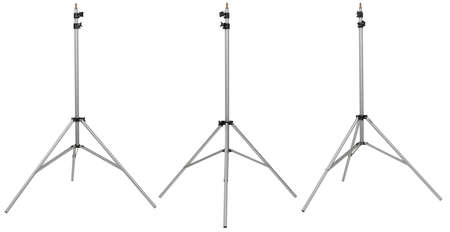 three silver photo stand on differents view isolated on white background