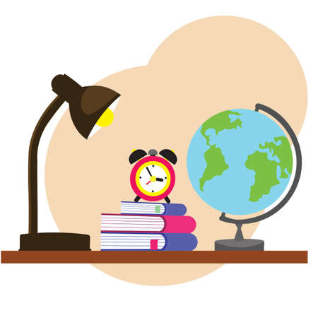 back to school: table lamp with alarm clock, books and globe in flat style Ilustração