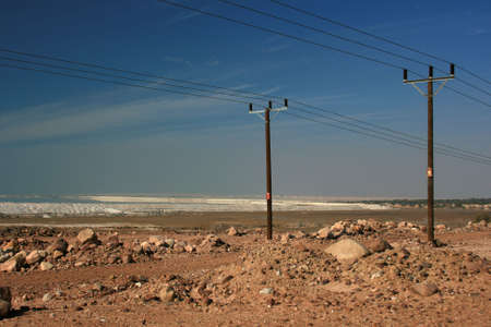 lonelyness: Current lines at the south part of the Dead Sea, Jordan Stock Photo