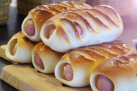 sausage in the dough.confectionery homemade Stock Photo