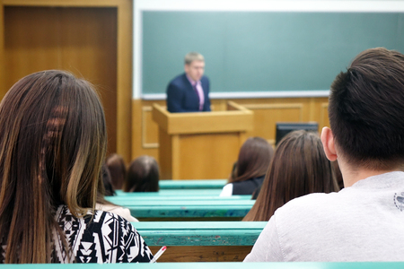 Audience with students at the University.Professors speech in the lecture hall of the University.