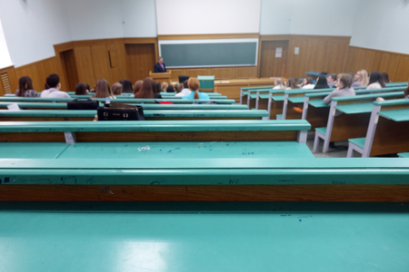 Russia. Vologda-February 3, 2018.state Polytechnic University. Audience with students at the University.Professors speech in the lecture hall of the University. Sajtókép
