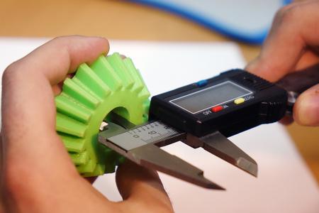 Measure with a digital caliper. Stock Photo