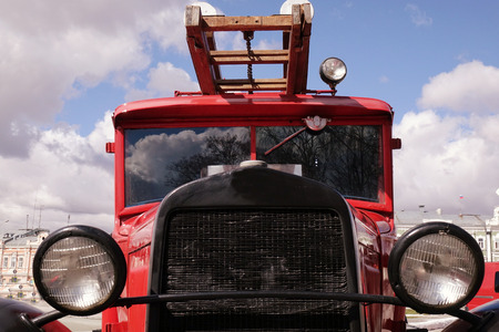 Old vintage classic fire truck. rescue
