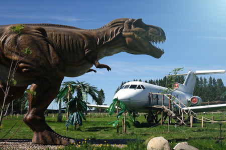 Russia. Vologda - 20 may 2018. Park with animals of the Jurassic period. The dinosaur and the plane of a film. Sajtókép