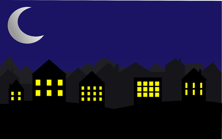 City at night. Bright moon and stars in the sky. Illustration.Bright moon and shooting star.
