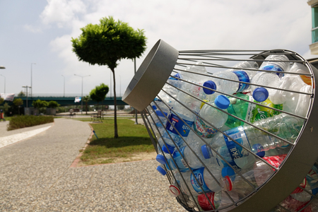 Turkey.Manavgat-June 2018. Plastic bottles in the container . Separate waste collection. Ecology. Editorial