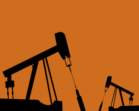 Oil rig silhouettes and orange sky, vector illustration, industrial, gas Иллюстрация