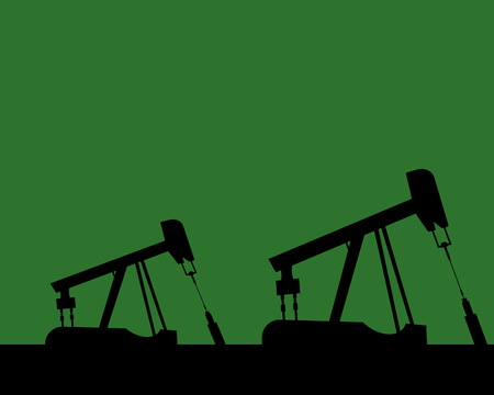 Oil rig silhouettes and orange sky, vector illustration, industrial, gas Illustration