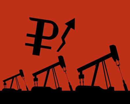 Oil rig silhouettes and orange sky, vector illustration, industrial, gas Иллюстрация