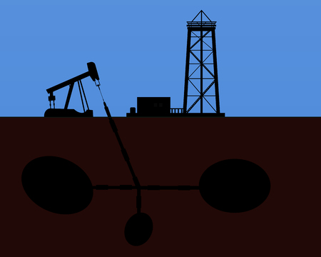 Oil rig silhouettes and blue sky, vector illustration Illustration