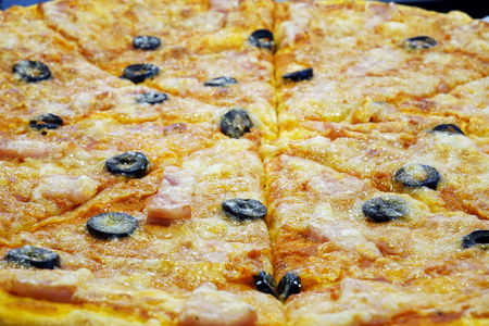 pizza with cheese and olives. confectionery