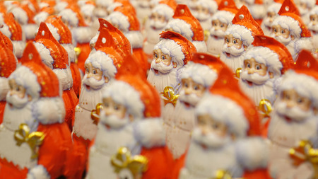 A large number of Christmas Santa Claus. Christmas gift,
