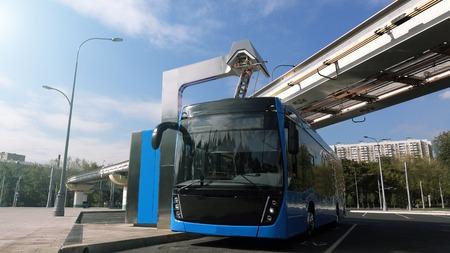 Autobús eléctrico azul en la estación de carga. Trenes modernos en el monorraíl. El concepto de transporte ecológico Foto de archivo