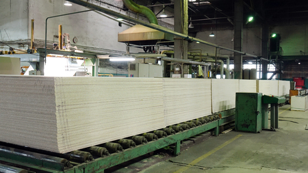 Production of laminated fiberboard. Fibreboard sheets for furniture production.