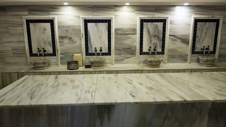 Traditional marble Turkish bathroom. Health and relaxation.