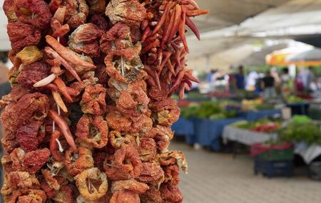 Dried products : eggplant pepper and vegetables in the Turkish market.