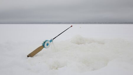 Fishing rod for fishing in winter. Sport and relaxation