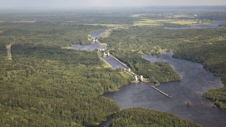 Birds-eye view of the river and the ships locks .Delta river from a birds eye view.
