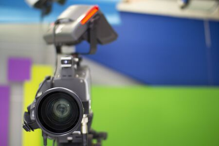 TV camera in the Studio.  and professional high-definition video camera on a tripod Standard-Bild