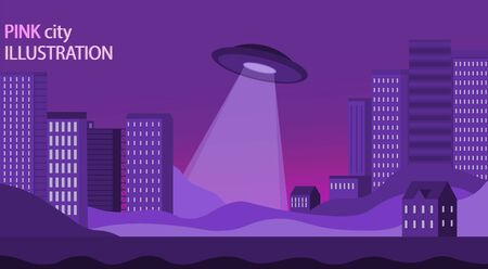 UFO over the night city. Illustrations of the concept of coronavirus nov-19. A virus with complications from China.