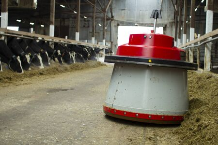 The robot farmers are programmed to work in the farm premises for animal feeding. Stockfoto - 147984239