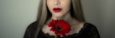 Portrait of a girl with a red gerbera flower Stockfoto - 149323249