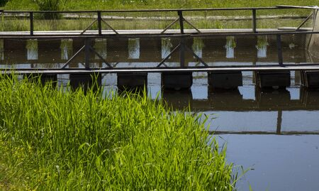Fish farm in the pond. Aquaculture in the open air Stockfoto - 149853010