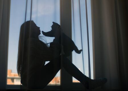 The silhouette of a girl with loose hair and a black kitten on the window.
