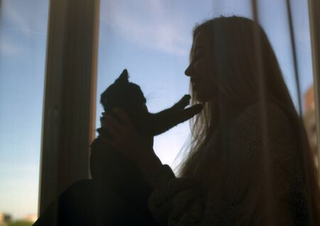 The silhouette of a girl with loose hair and a black kitten on the window Stockfoto - 149889607
