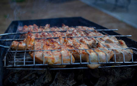 Barbecue on the grill. Steaks are cooked over glowing coals
