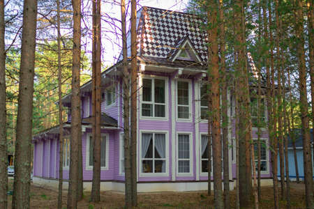 Wooden cottage in a pine forest.